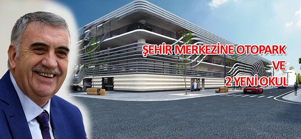 """Başkan Toçoğlu, """"Milli Eğitim Bakanlığımız ile protokolü imzaladık. Atatürk İlkokulu'nun bulunduğu alana otopark yapıyoruz. İşte 700 araç kapasiteli otoparkımız. Hayırlı olsun"""""""