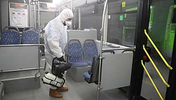 Belediye otobüslerine koronavirüs önlemi