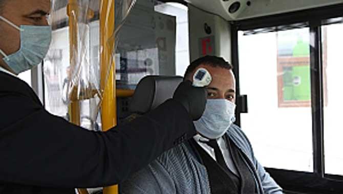 Otobüs şoförlerinin ateşleri her gün ölçülüyor