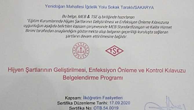 """Taraklı'daki okullar """"Okulum Temiz"""" Belgesi aldı"""
