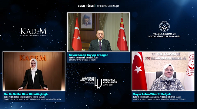 4'üncü Kadın ve Adalet Zirvesi'nin açılışını Cumhurbaşkanı Erdoğan yaptı