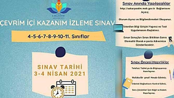 3-4 Nisan'da Kazanım İzleme Sınavı Yapılacak.