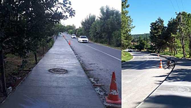 Mahmudiye'de beton yaya yolu çalışması tamamlandı