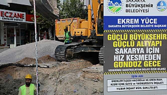 Erenler ve Hacıoğlu Mahallelerine 5 bin 848 metrelik yağmursuyu hattı