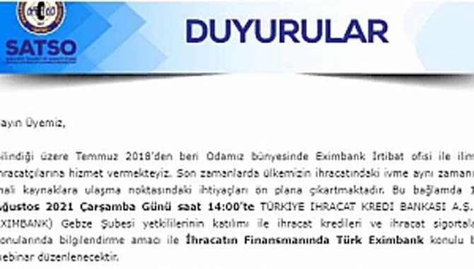Hatırlatma: İhracatın Finansmanında Türk Eximbank Konulu Toplantı