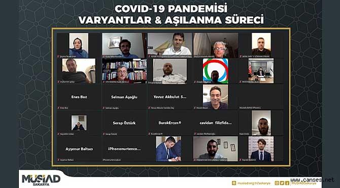 """Müstakil Sanayici ve İşadamları Derneği (MÜSİAD) Sakarya Şubesi'nin Sağlık, Medikal, İlaç Üretimi ve Ticareti Komitesi """"COVID-19 Pandemisi: Varyantlar ve Aşılanma Süreci"""" başlıklı bir program gerçekleştirdi."""