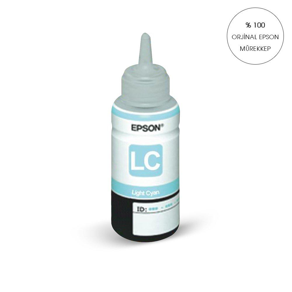 ORİJİNAL LIGHT MAVİ Epson L800 / L810 / L850 / L1800 için ve 6 RENKLİ TÜM EPSON YAZICILAR İÇİN 70 ml.T6735 Mürekkep