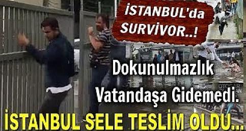 İstanbul'da Survivor..! Dokunulmazlık Vatandaşa Gidemedi... İstanbul'u Sel Aldı...